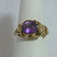Custom 14Kt Gold Amethyst Single Rose Stem  Nude Woman Ring Size 7