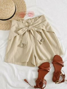 ((Affiliate Link)) Description Style:	Casual Color:	Beige Pattern Type:	Plain Details:	Belted, Fringe, Paper Bag Waist Type:	Wide Leg Season:	Summer Composition:	100% Cotton Material:	Cotton Fabric:	Non-stretch Sheer:	No Fit Type:	Loose Waist Type:	Mid Waist Closure Type:	Elastic Waist Belt:	Yes