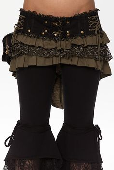 Spunky Bustle Belt/Skirt with stud off bustle, lace and frills, lotus embroidery,  Attachable pouch with iside pocket. optionally worn as a bustle skirt or belt..  Absolutely awesome work...we love it!  Made by the one and only Mywanwy from the hills of Byron Bay.