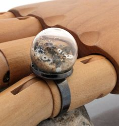 Steampunk sands of time glass dome globe terrarium statement ring with sand and vintage watch parts- adjustable gunmetal