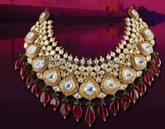 Expensive Polki Choker with Drops Ruby Jewelry, Royal Jewelry, India Jewelry, Gems Jewelry, Beaded Jewelry, Antique Jewelry, Indian Jewellery Design, Jewelry Design, Indian Wedding Jewelry