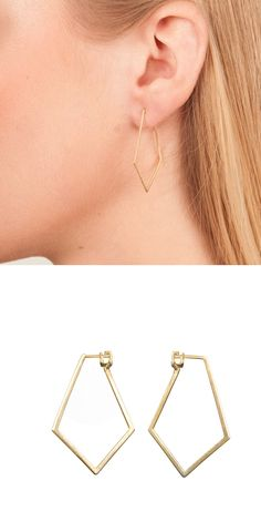 Dutch Basics | Wolf & Badger  #earrings #goldplated #rosegoldplated #diamond #shape