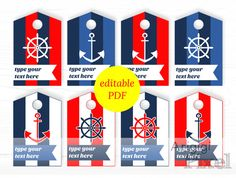 nautical hang tags editable PDF printable by ArigigiPixel on Etsy
