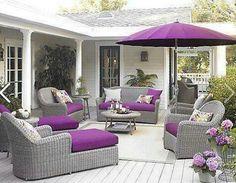 Purple & gray patio furniture
