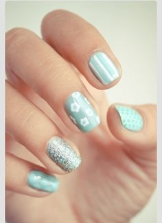 Mint colored nails with designs - silver sparkles, white flowers, stripes, dots, spots
