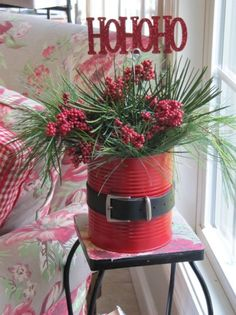 Make Santa Cans - 60 Beautifully Festive Ways to Decorate Your Porch for Christmas