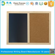 Free Shipping 2016 New Natural Combination Cork Board and Chalk BlackBoard Kitchen Office Supplier 30*40cm Home Decorative