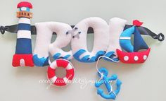 Nautical felt name banner  www.facebook.com/cocoycanela10