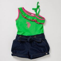little girls one shoulder romper with ruffle and denim bottom