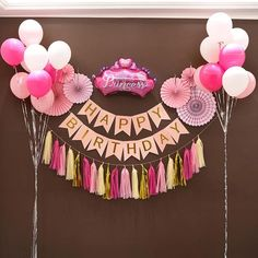 Happy birthday garland set backdrop party decoration – Fashion for Your Kids Happy Birthday Decor, Birthday Decorations At Home, 2nd Birthday Party Themes, Diy Birthday Banner, Gold Birthday Party, Birthday Balloons, Birthday Parties, Happy Birthday Little Girl, Diy Birthday Backdrop