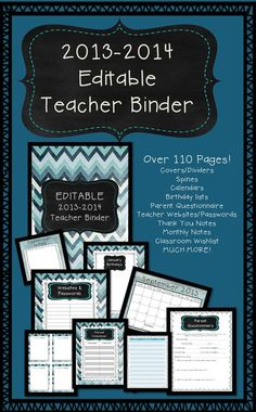 """Over 110 pages of FREE goodies! Super cute """"beach wash"""" Teacher Binder for 2013-2014. Get it this weekend! Free Saturday and Sunday 6/22 & 6/23."""