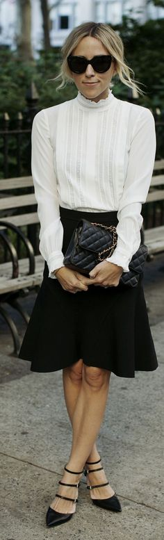 Black Multi Strap Heels Black A-line Skirt White Round Collar Blouse Retro Vibes Fall Inspo by Damsel In Dior