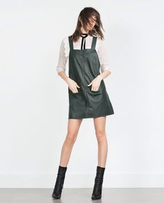 a780412d926f Zara Check Pinafore Dress, Faux Leather Dress, Leather Dresses, Neue  Outfits, Ganga