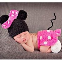 Wish | Cute 4 Crochet Newborn Baby Costume Infant Knit Minnie Mouse Outfits Photo Props