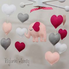 Elephant Mobile - Baby Mobile - Custom Mobile (not ready made) - Ships in 3-4 Weeks on Etsy, $65.00