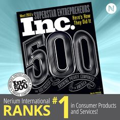 Celebrate with us as we make history! Inc. Magazine just announced Nerium International's #1 rank in Consumer Products and Services! I am so proud to be part of a company with this high of an honor.  I am telling you ...we certainly are on to a little something here!!! Been a little curious, message me, let's talk, or visit staceymccreery.nerium.com.