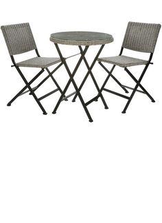 Balkon-Set, Tisch 58x58x74, Klappstuhl 48x43x81cm, grau