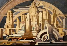 """""""Cityscape""""  by Tullio Crali, 1939    Via a reverse image search (thanks to a reader for suggesting), I figured out this image was originally posted as part of a piece called """"20 Dynamic Paintings from the Italian Futurists."""""""