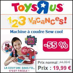 #missbonreduction 1,2,3 vacances: remse de 55% sur la Machine à coudre Sew cool chez Toysrus. http://www.miss-bon-reduction.fr//details-bon-reduction-Toysrus-i852715-c1826051.html