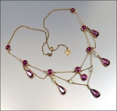 1900: Antique Edwardian Festoon Necklace Amethyst Glass Pearl