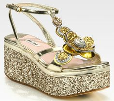 9e5774c22a5e Miu Miu Glitter-Coated Flower   Metallic Leather Wedge Sandals in Gold