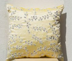 Yellow throw pillows bead sequin detail - Leaves pillow - Silk pillow - Cushion cover zipper - 16X16 -Yellow white pillow - Crystal Pillow