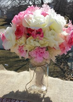 SOLD Beautiful Bridal  bouquet with blush pink, white and pink silk flowers by Finders Keepers #bridalbouquet