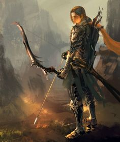 f Half Elf Ranger Medium Armor Longbow Sword Hills canyon cliffs conifer forest fires trail med High Fantasy, Fantasy Rpg, Medieval Fantasy, Fantasy Artwork, Fantasy World, Fantasy Male, Fantasy Character Design, Character Concept, Character Art