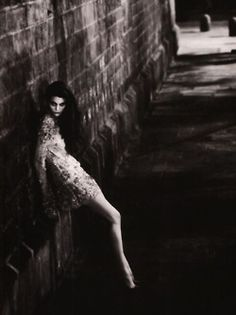 This could be a film still out of gritty nouveau noir film.  Femme Fatale Vogue España, December 2006 Photographer: Nico Bustos Model: Marina Perez