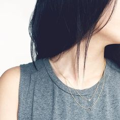 Mondays call for double layers. Pairing our everyday circle necklace with the dainty baguette diamond necklace.