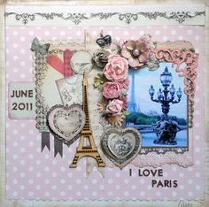 I Love Paris - Scrapbook.com I love the way the flowers are layed out.