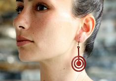 Items similar to Circle leather earrings - vegetable tanned leather on Etsy