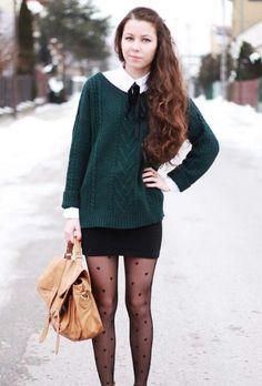 Black Heart stockings/tights, Black miniskirt, Dark Sea-green Sweater, White Button-Down shirt, with a Light Brown Leather handbag