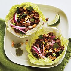 Thai Beef Cabbage Cups: I have made these many times before and they are delicious. I make more of a salad out of it with shredded cabbage instead of cups because it is too hard to eat that way. You can make this with any kind of ground meat, or even soy crumbles.