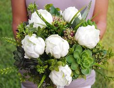 Bouquet of Silk Peonies and Succulents Off White Natural Touch Flower Wedding Bride Bouquet - Almost Fresh on Etsy, $125.00