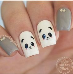 32 Lovely Animal Nail Art Designs Of 2020 Panda Nail Art, Animal Nail Art, Girls Nails, Pink Nails, My Nails, Bella Nails, Cute Nail Art, Cute Nails, Bow Nail Art
