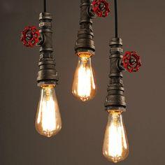 Simple Loft Style Edison Vintage Industrial Pendant Light Iron Water Pipe Pendant Lamp Fixtures Home Lightings Industrial Light Fixtures, Industrial Pendant Lights, Ceiling Lights, Vintage Ceiling Lights, Ceiling Lamp Shades, Pendant Lamp, Hanging Lamp, Retro Lamp, Vintage Lamps