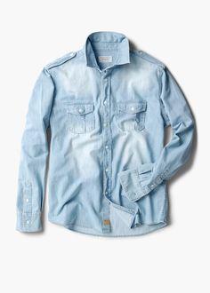 Light wash denim shirt. Mens casual wear.
