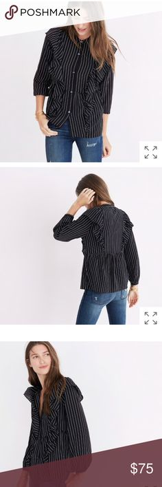Madewell silk ruffle stripe Alexa chung blouse top PRODUCT DETAILS Dramatic ruffles and sheer stripes give this silk button-down an extra-dressy feel. This is an unapologetically feminine top to wear with jeans, skirts, anything.  True to size. Silk. Dry clean. Import. Item H3849. Madewell Tops Blouses