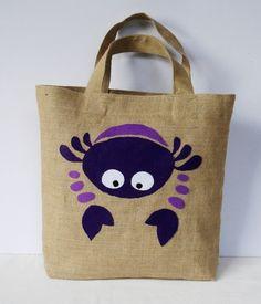 Spring Summer Eco friendly  Jute tote handbag by Apopsis on Etsy