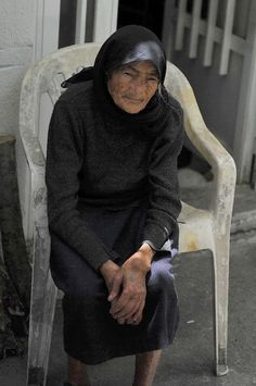 Mrs Helena from Zenia village of Lassithi photographed in 2009 at the age of 96. Photo by Martine Prest