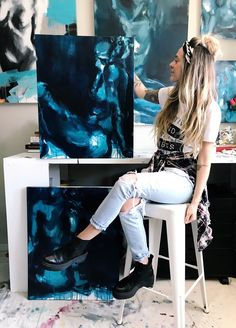 Charleston artist Samantha in her studio. The Blue Collection, available online after march 28th. Shop the link for original figurative art