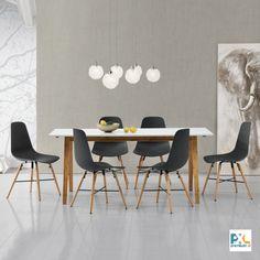 """ento [en.casa] Jedálenský stôl """"Niko"""" HTNT-4302 s bielou matnou doskou stola z MDF o rozmeroch 180 x 80 cm. Poskytuje pohodlný priestor pre 6-8 osôb. Spolu so 6 dizajnovými stoličkami z umelej hmoty, zaujme čistým tvarom, moderným dizajnom a vynikajúcimi úžitkovými vlastnosťami. #premiumXL.sk #premiumXL #jedálenské zostavy #dizajn #štýl #bývanie #stolovanie #biele #sivé # drevo #bambus"""