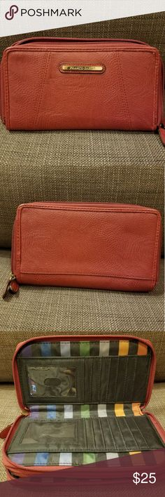 Franco Sarto Dark Red Leather Wallet A gorgeous deep red wallet by Franco Sarto.  It has multiple card slots, a zippered pocket, and two bill sections. Holds a lot! Franco Sarto Bags Wallets