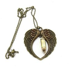 Angel Wing Bullet Pendant NecklaceBullet by GlobalBrights on Etsy