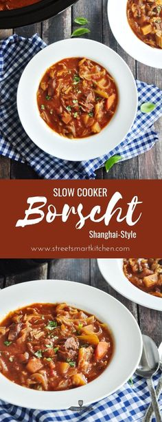 A hearty borscht recipe made with beef stew meat and onion sautéed in a roux and slow cooked in homemade beef bone broth this Shanghai-style beef borscht makes a delicious comfort meal on a chilly day. Slow Cooker Recipes, Crockpot Recipes, Soup Recipes, Healthy Recipes, Recipes With Beef Soup Bones, Free Recipes, Healthy Food, Delicious Recipes, Beef Bone Broth