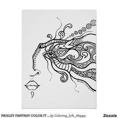 PAISLEY FANTASY COLOR IT YOURSELF POSTER, 18x24 Poster