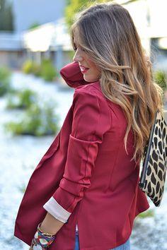 BURGUNDY – Mi Aventura Con La Moda Blazer Fashion, Boyfriend Jeans, Burgundy, Ruffle Blouse, Casual, Women, Blazer Outfits, Adventure, Style