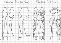 totem pole raven pattern Wood Carving Faces, Wood Carving Designs, Wood Carving Patterns, Wood Carving Art, Wood Patterns, Totem Pole Drawing, Totem Pole Tattoo, Native American Symbols, American Indians
