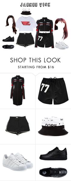 """Hit The Stage [Trini Dem Girls & Wtf ]"" by starz-official ❤ liked on Polyvore featuring KTZ, Boohoo, L'Agence, Dope, adidas Originals, NIKE and Carven"